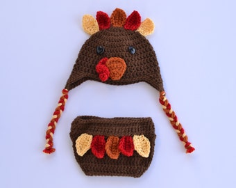 Handmade crochet turkey baby hat and diaper cover; feathers; wattle; fall pictures; Thanksgiving; Autumn; photography prop; baby shower gift