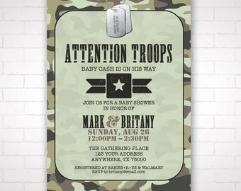 DIY Army Themed Baby Shower Invitation