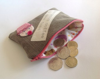 Fun upcycled coin-loose change purse with coffee & cake motif