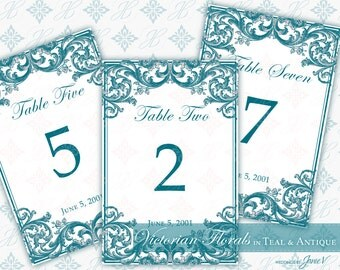 DIY Printable Wedding Table Number Template | Printable Table Setting Décor | Victorian Florals in Teal & Antique