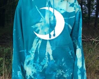 blue moon hoodie,lunar,festival, hippie, goa, dance, batik, tie dye, nature, ethno, hipster, yoga