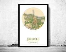 JAKARTA - city poster - city map poster print
