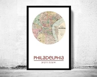 PHILADELPHIA (2) - city poster - city map poster print