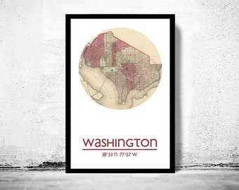 WASHINGTON - city poster - city map poster print