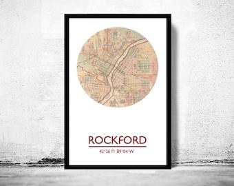 ROCKFORD - city poster - city map poster print
