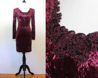 Vintage 1980s/90s Burgundy Velvet Bodycon Dress