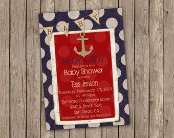 Nautical Baby Boy Shower Invitation in Red White and Blue with Anchor - printable 5x7
