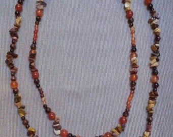 canyon 2: double strand beaded necklace in mookiate, red tigereye & carnelian