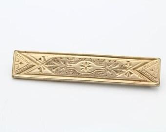 Large Antique Victorian Gold Filled Engraved Bar Charm Holder Brooch. [4858]