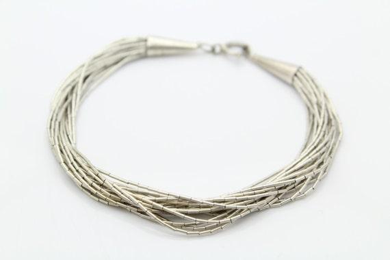 vintage sterling liquid silver 20 multi strand bracelet