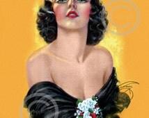 Gorgeous Glamour Girl Pin-up Print, by Billy DeVorss, black dress, flowers, Black hair, Captivation, Giclee Fine Art Print, 1938, 11x14