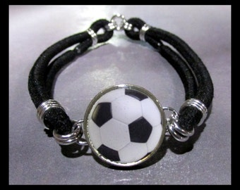 SOCCER BALL Football Futbol Dime Stretch Bracelet - One size fits most - Made In USA