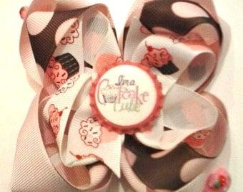 Cupcake Cutie , Cupcake Hair Bow , Boutique Hair Bow , Bottle Cap Hair Bow , Children's Hair Bow