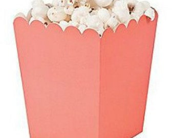 Coral Popcorn Boxes, Baby Shower Favor Boxes, Wedding Favor Boxes mini popcorn boxes