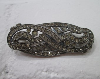 Vintage brooch - clear rhinestone