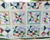 Patchwork lap quilt / couch throw, white, blue, pink, green and lilac, handmade sampler quilt