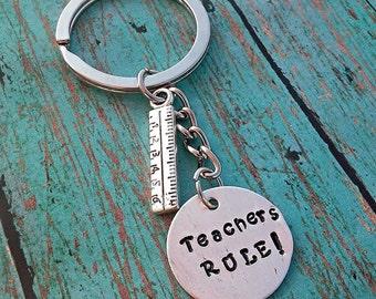 Teacher Keychain - Teacher Gift - Teacher Appreciation - Gift for a Teacher - Hand Stamped - Chalkboard Charm - Appreciation Gift - Teacher