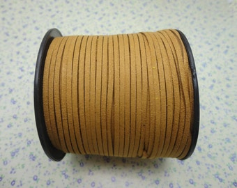 90 meters (295 feet) length 3*1.5mm width pale brown color flat suede cord , lace leather cord , velvet cord , CC2030