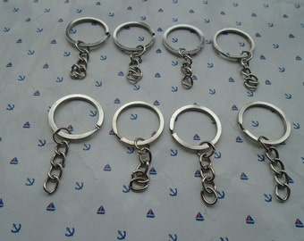 50pcs silver gray color 1 inch diameter split key ring with 1 inch length key chain , CM2031