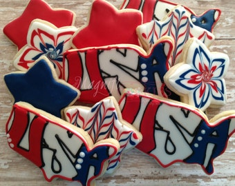 Patriotic USA decorated cookies July 4th Memorial Day