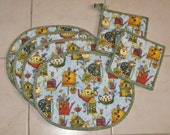 Placemat Set & Potholder/Trivet Set, Quilted with Birds, Bird Houses, Flowers and Flower Watering Cans