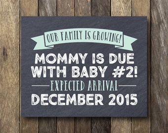 Baby #2 Announcement - Printable Pregnancy Announcement - Printable Pregnancy Reveal - Pregnancy Announcement Card - We're Expecting Card