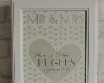 Mr & Mrs Personalised Laser cut framed Gift
