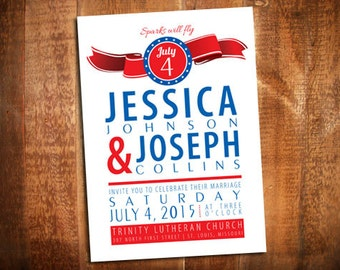 4th Of July Wedding Invitation   4th Of July Invites   Patriotic Party  Invite   Fourth