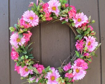 Summer Door Wreath, Pink Gerberas, Azaleas, Hydrangea Door or Wall Wreath, Summer Floral, Grapevine Wreath, Floral Wreath, Summer Flowers