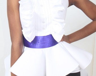 HOT SALE -Miss Tuxedo Peplum blouse