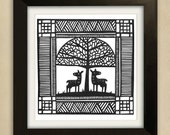 Pair of Deer under a tree Original Papercut