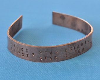 Copper Bracelet Bangle With Hand Stamped Text: Star Light, Star Bright, First Star I See Tonight - Metal Stamping - Shooting Stars