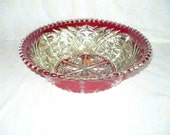 Antique Goofus glass with inlaid pure silver Maestro serving bowl fruit bowl on red background