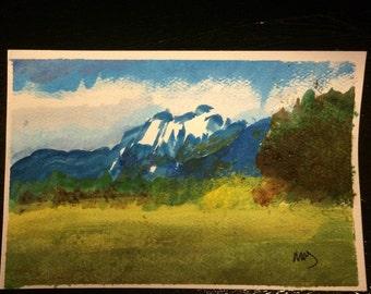 "Mountain landscape. 6"" x 4"" podcard watercolor"