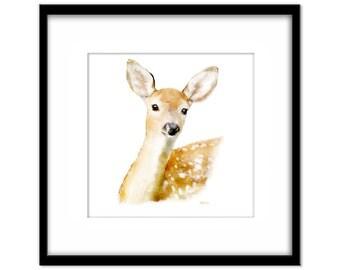 Deer Art, Fawn Painting Instant Download, Printable Animal Poster, Kids Nursery Wall Art, Card Making