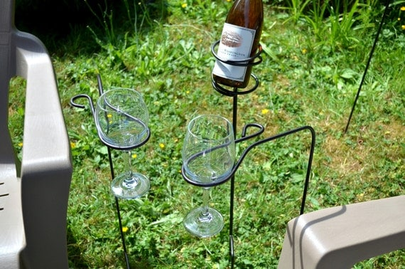 Metal Wine Glass Holder: Items Similar To Outdoor Metal Wine Glass And Bottle