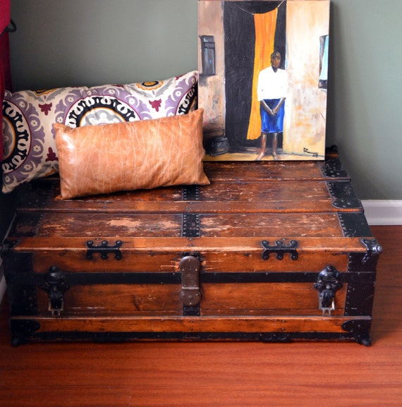 Antique Steamer Trunk Coffee Table Flat Top By Alittleretroshop