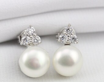 crystal flower pearl studs,8mm button pearl stud earrings,white coin pearl earring wedding,pearl button earrings,ivory pearl earings stud,
