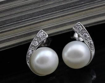 real pearl stud earrings,girl pearl earring stud,freshwater pearl stud earrings,discount pearl earrings,bridesmaid earrings gift, ER018