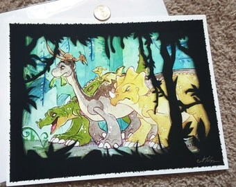 """8x10"""" Land Before Time Littlefoot Journey to the Valley fine art print"""