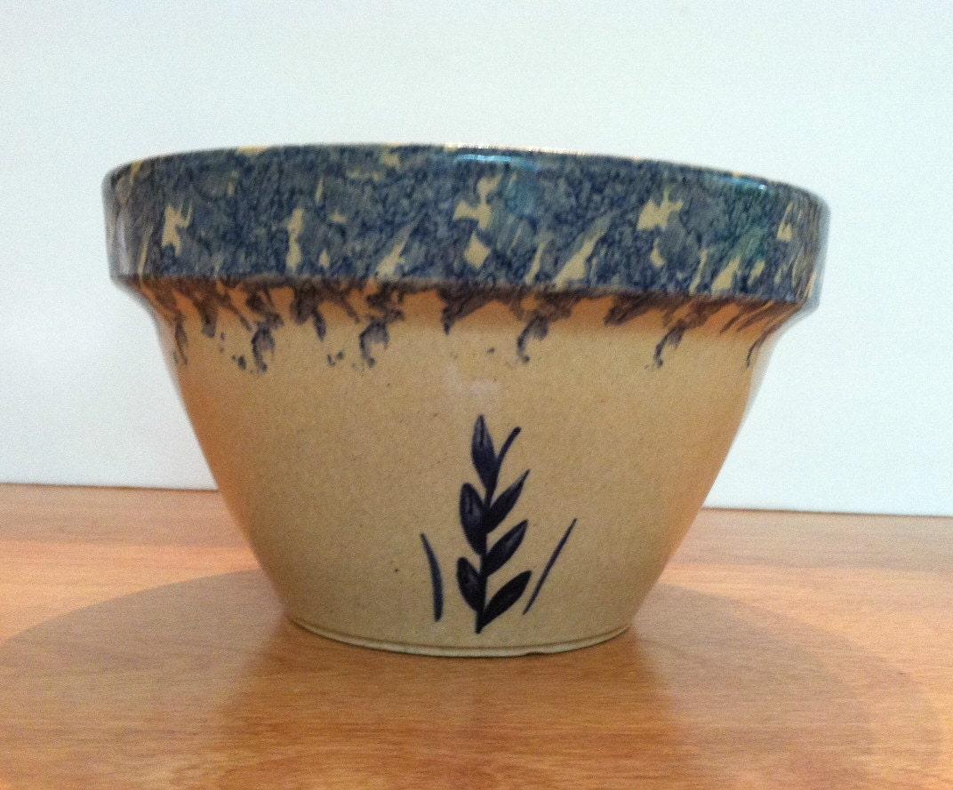 vintage mixing bowl roseville ohio u s a blue sponge wheat
