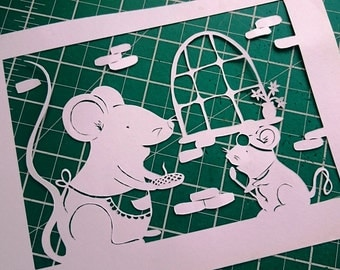 DIY Papercut Template - Mother & Baby Mouse