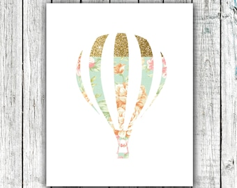 Nursery Art Printable, Wall Art, Printable Art, Hot Air Balloon, Floral, Gold, Instant download, Size 8x10 #347
