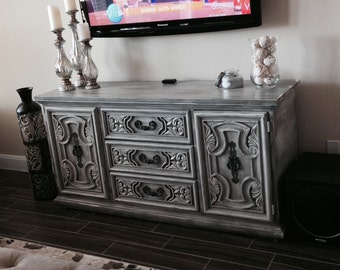SOLD! Intricate Carving Ornate Sideboard Buffet Dresser Sideboard lots of storage Rustic Distressed Media Console - FINISH SAMPLE