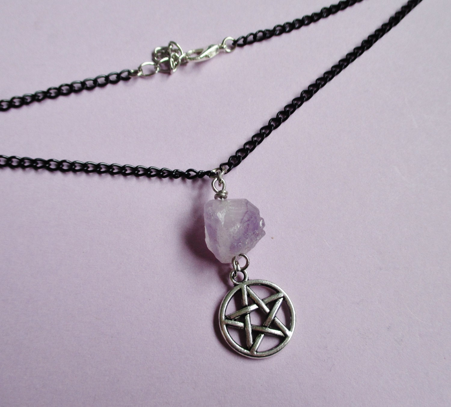 Choker Necklace Etsy: Amethyst Pentagram Choker Gothic Necklace Witch Jewelry