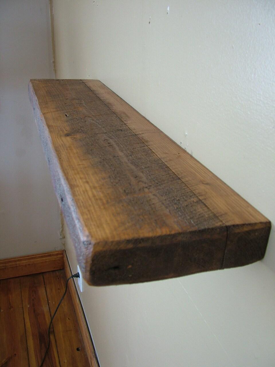 Barn Wood Shelves ~ Reclaimed barn wood floating shelf by