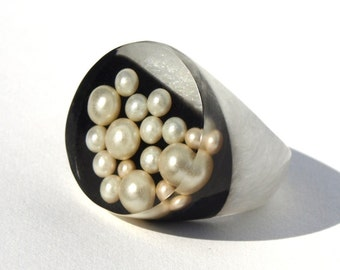 Tuxedo Pearl Resin Ring, Spring Trending Rings, Black & White Rings, Pearl Ring Trends, Statement Unique Modern Jewelry, ResinHeavenUSA