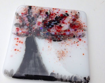 Cherry blossom fused glass coaster pink and red