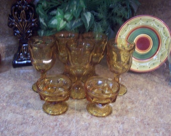 Amber Wine/Water/Dessert Goblets, Retro, Vintage REDUCED was 34.99