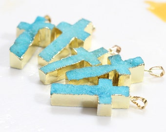 Cross Blue Druzy Drusy Pendant geode pendant jewelry for druzy necklace drusy necklace YHA-037